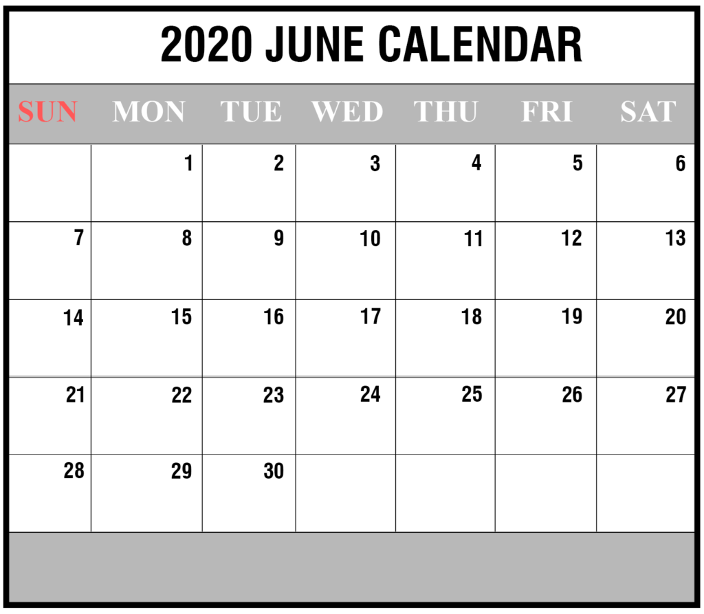 2020 June Portrait Calendar