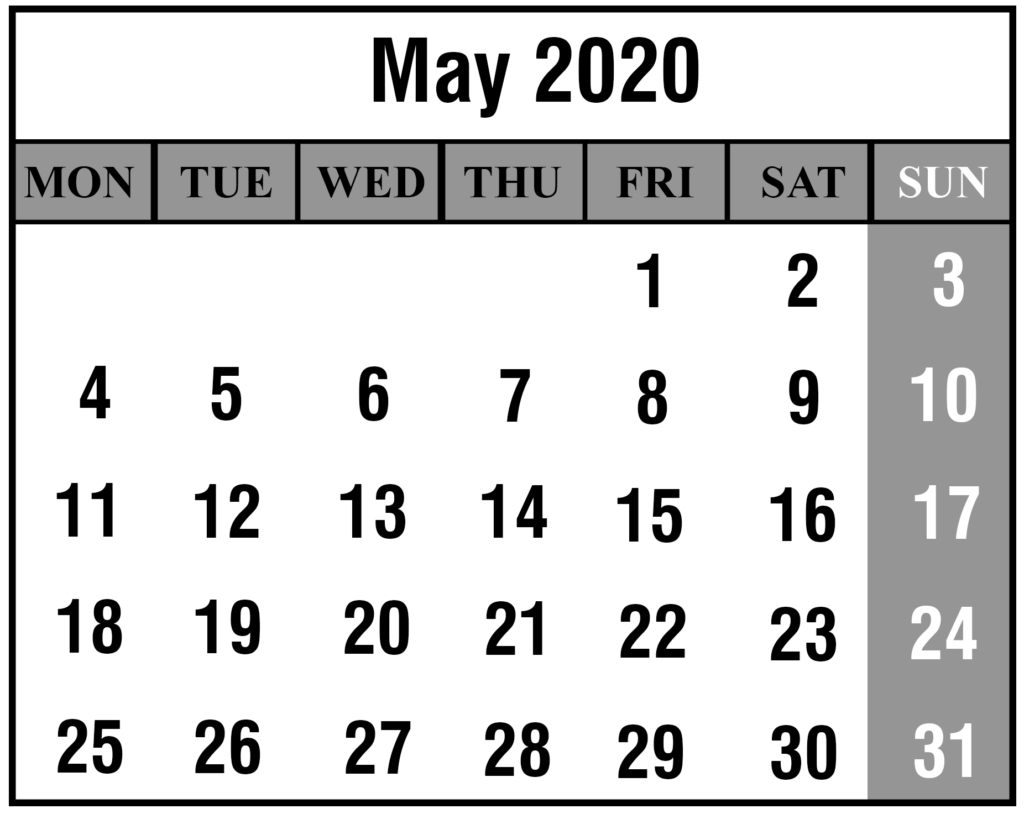 2020 May Portrait Calendar