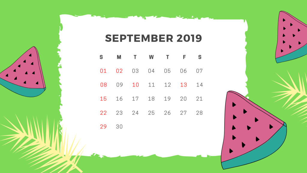 September 2019 Calendar With Holiday