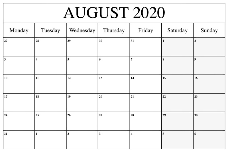 September Calendar 2020 Printable.Free 2020 August Printable Calendar Templates Pdf