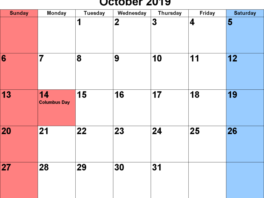 photograph about Printable Calendar October referred to as Totally free Oct 2019 Printable Calendar Templates [PDF, Excel