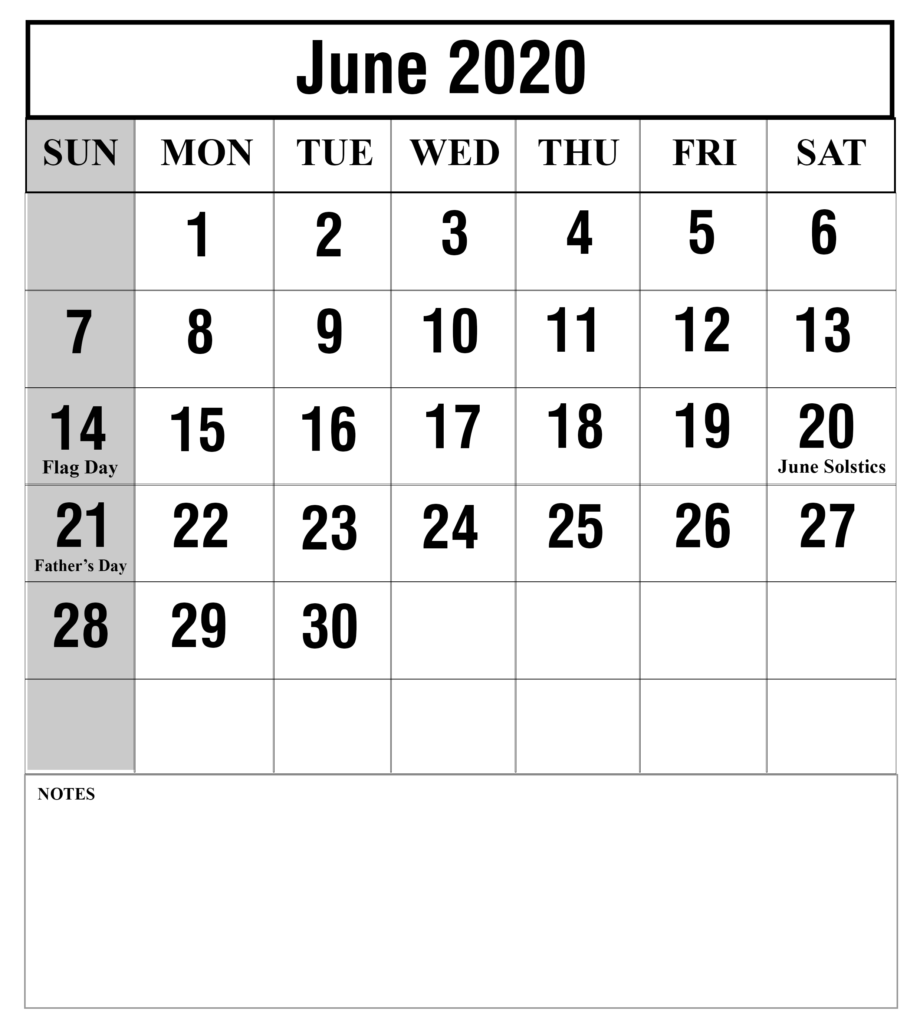 June 2020 Calendar With Holidays