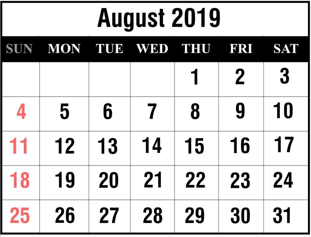 photograph regarding Free Printable Calendar August identified as Cost-free 2019 August Printable Calendar Templates [PDF, Excel