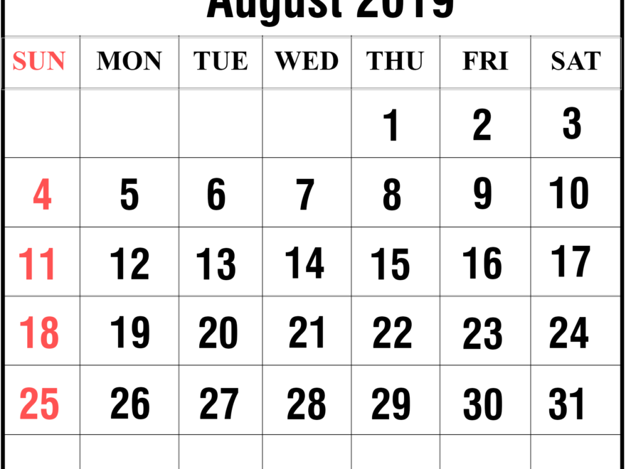 image regarding Printable Calendar Template titled No cost 2019 August Printable Calendar Templates [PDF, Excel