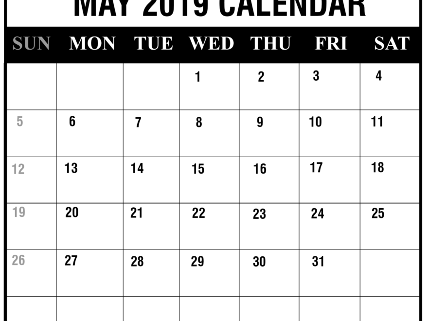 2019 May Portrait Calendar Template