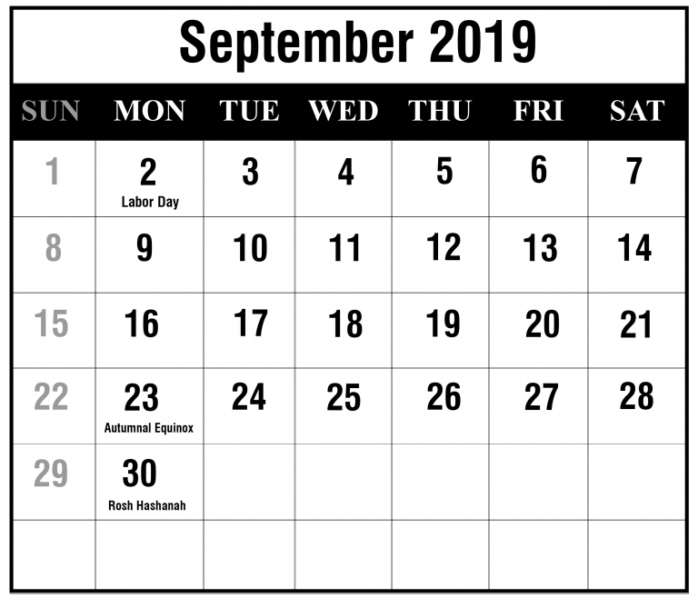 picture regarding September Printable Calendar named No cost September 2019 Printable Calendar Templates PDF, Excel