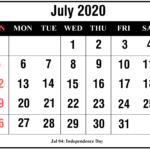 July 2020 Calendar With Holiday