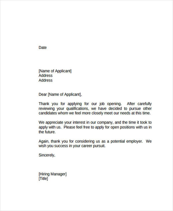 Rejection Letter Templates With Example