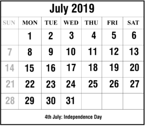 July 2019 Calendar With Holiday