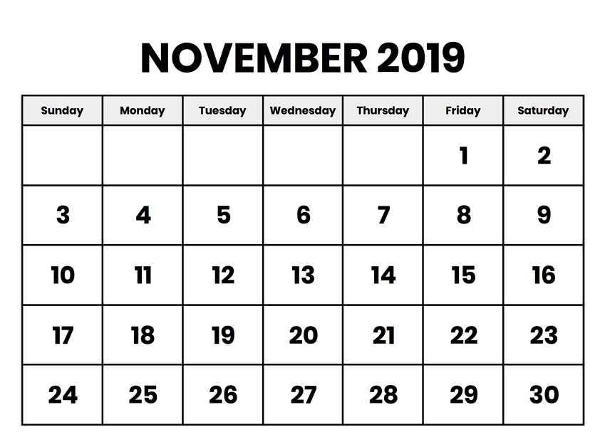 picture relating to Oct Calendar Printable Pdf identified as No cost Blank November 2019 Printable Calendar With Vacations