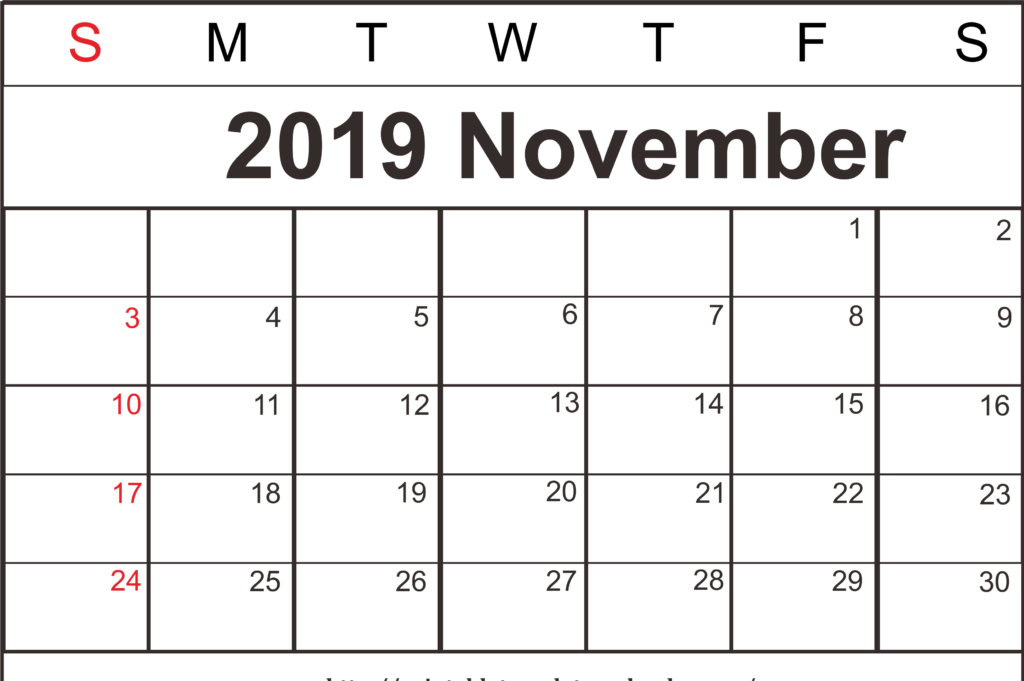 picture regarding Free Printable November Calendar called Cost-free Blank November 2019 Printable Calendar With Holiday seasons