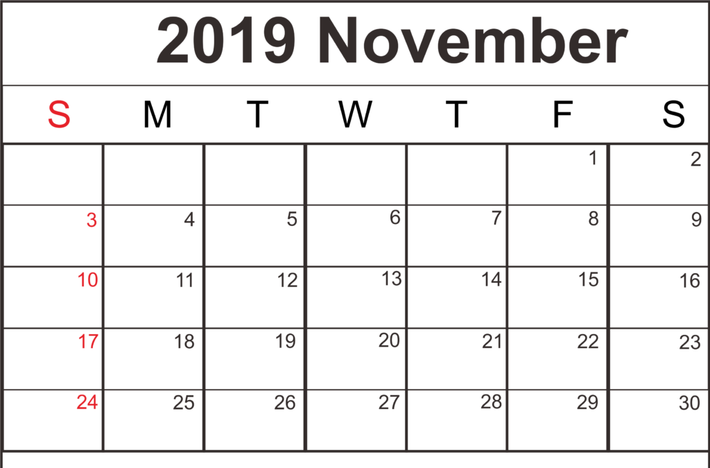 Free Blank November 2019 Printable Calendar With Holidays {PDF,Word