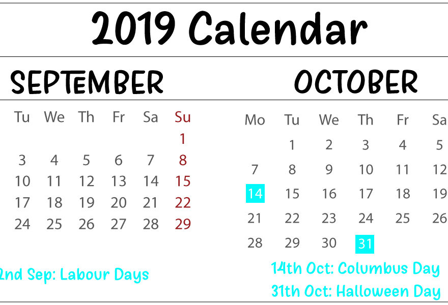image about Free Printable October Calendar titled Absolutely free Obtain September Oct 2019 Calendar Printable