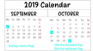September & October 2019 Printable Calendar