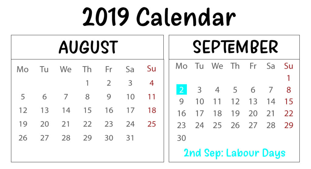photo relating to Calendar With Holidays Printable identify Free of charge Printable August September 2019 Calendar With