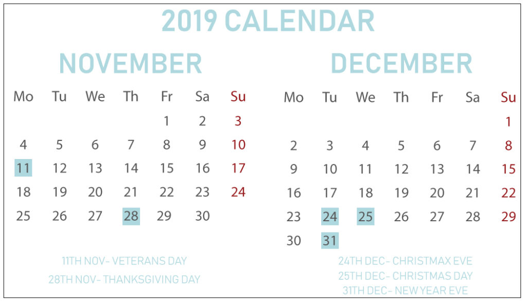 picture about Printable Calendar November identify Printable Absolutely free November December 2019 Calendar With