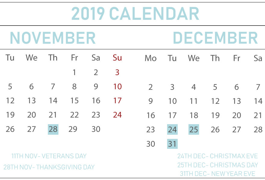 graphic relating to December Calendar Printable With Holidays identify Printable Free of charge November December 2019 Calendar With