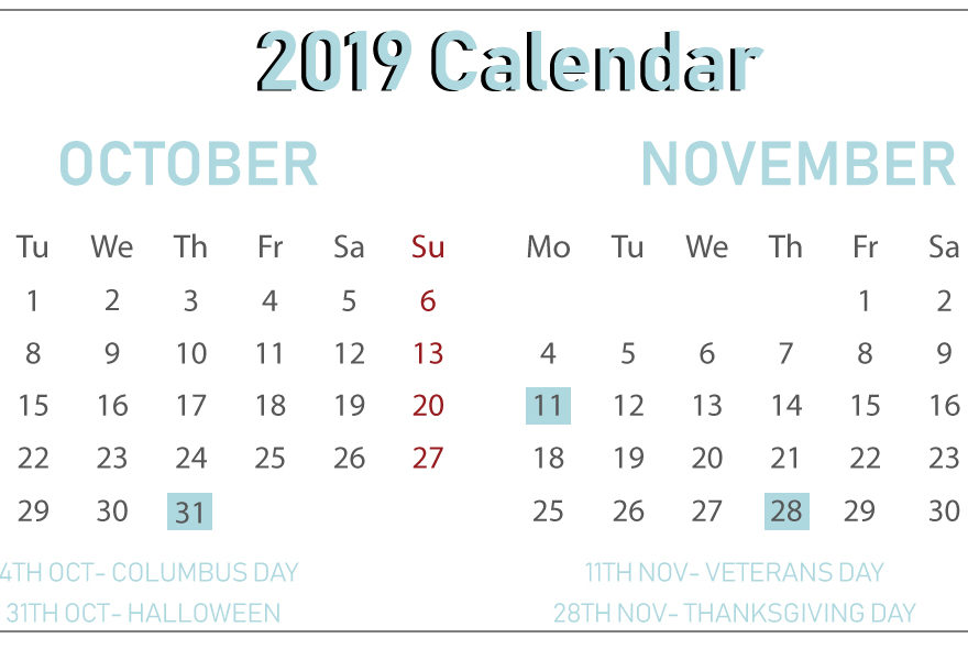 graphic about Printable Calendar for October identified as Free of charge Oct November 2019 Printable Calendar With