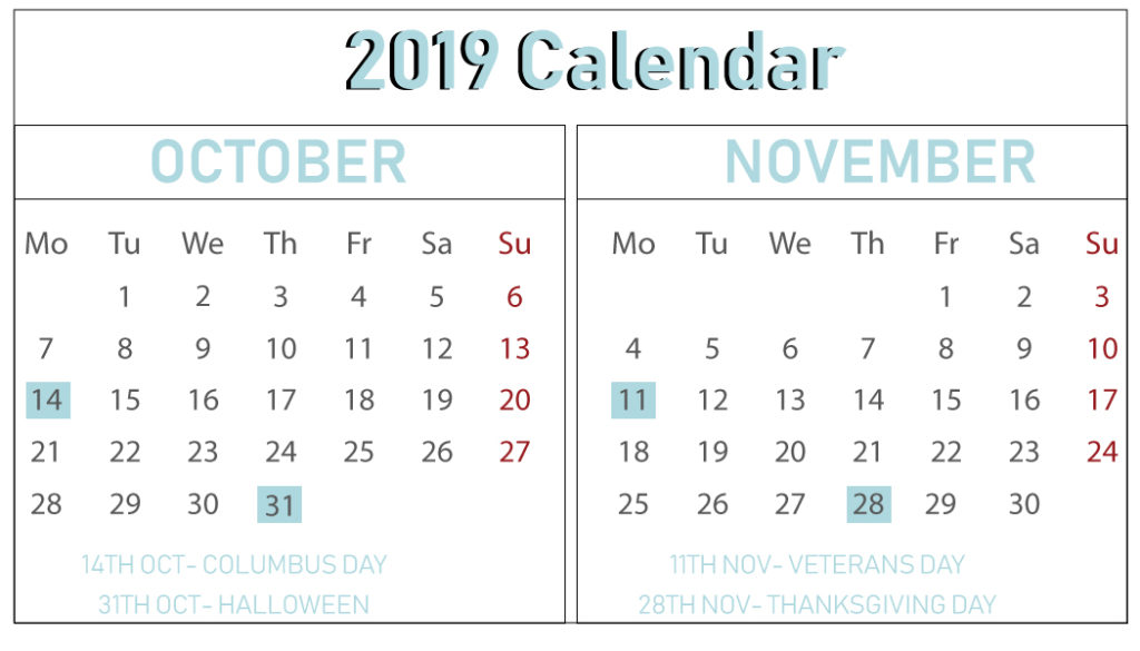 Download Free October November 2019 Printable Calendar With
