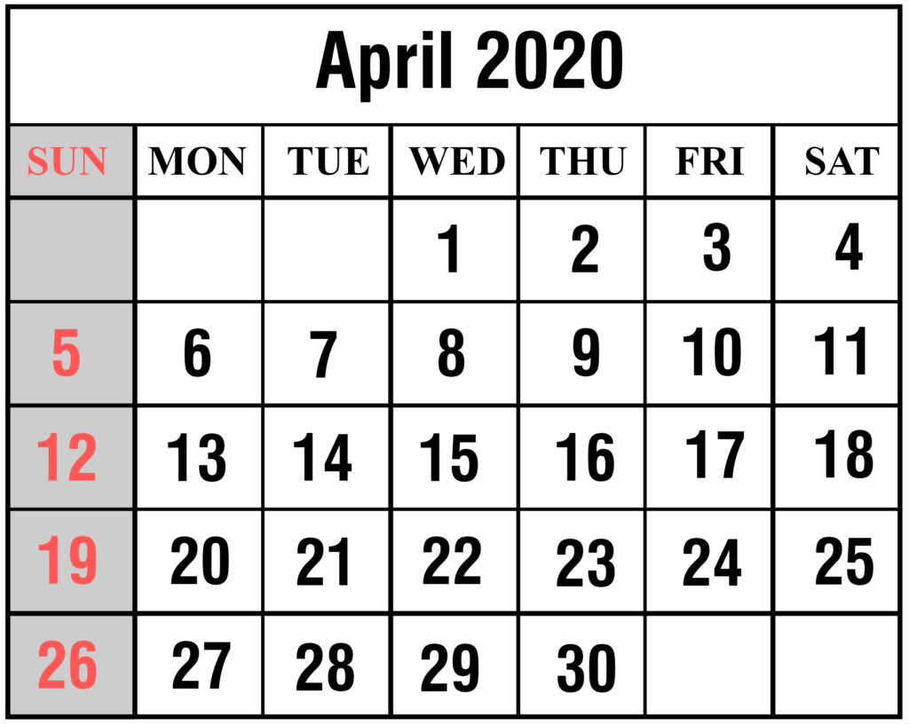 2020 April Portrait Calendar