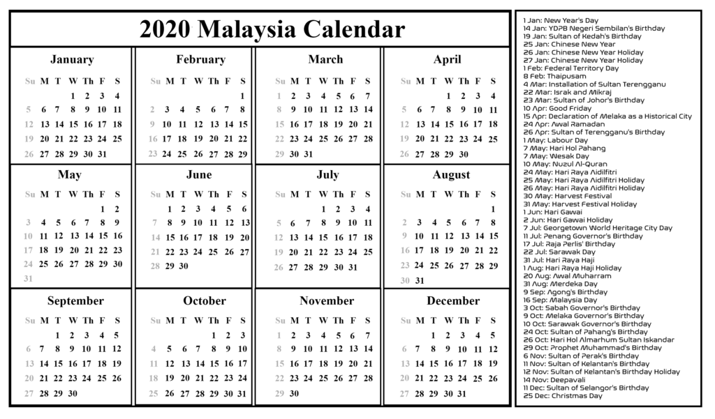 Public Holiday in Malaysia 2020