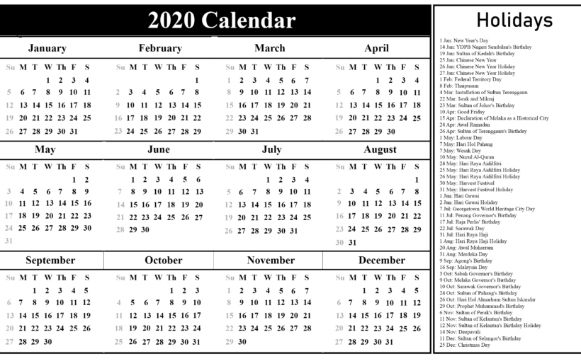 picture about Free Printable 2020 Calendar With Holidays referred to as Cost-free Malaysia 2020 Calendar Printable PDF Excel Term