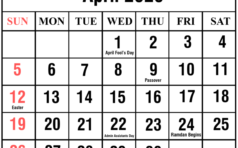 graphic regarding Printable Calendar April named No cost April 2020 Printable Calendar Templates [PDF, Excel