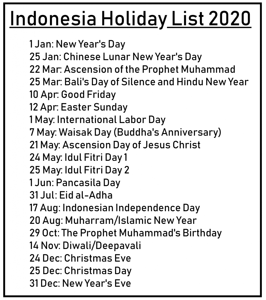 Indonesia 2020 Public Holidays