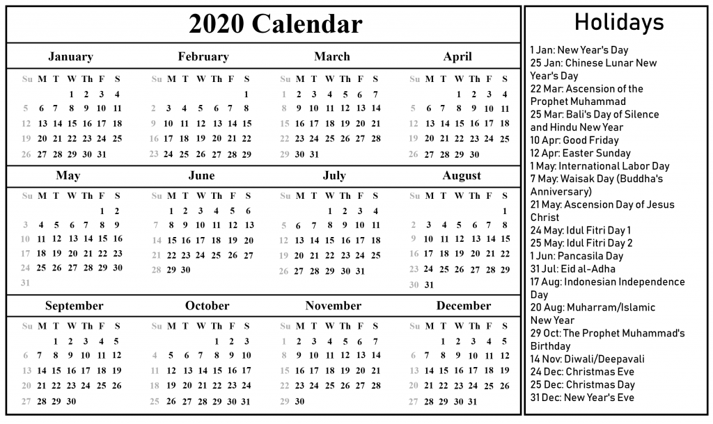 Indonesia 2020 Printable Calendar