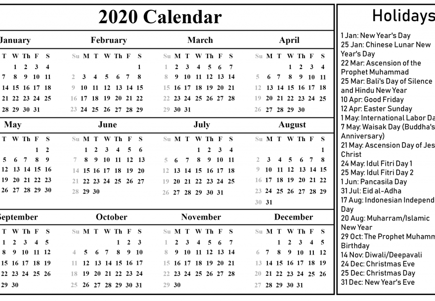 Free Download Indonesia Calendar 2020 [PDF, Excel & Word