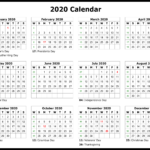 2020 Yearly Printable Calendar With Holiday