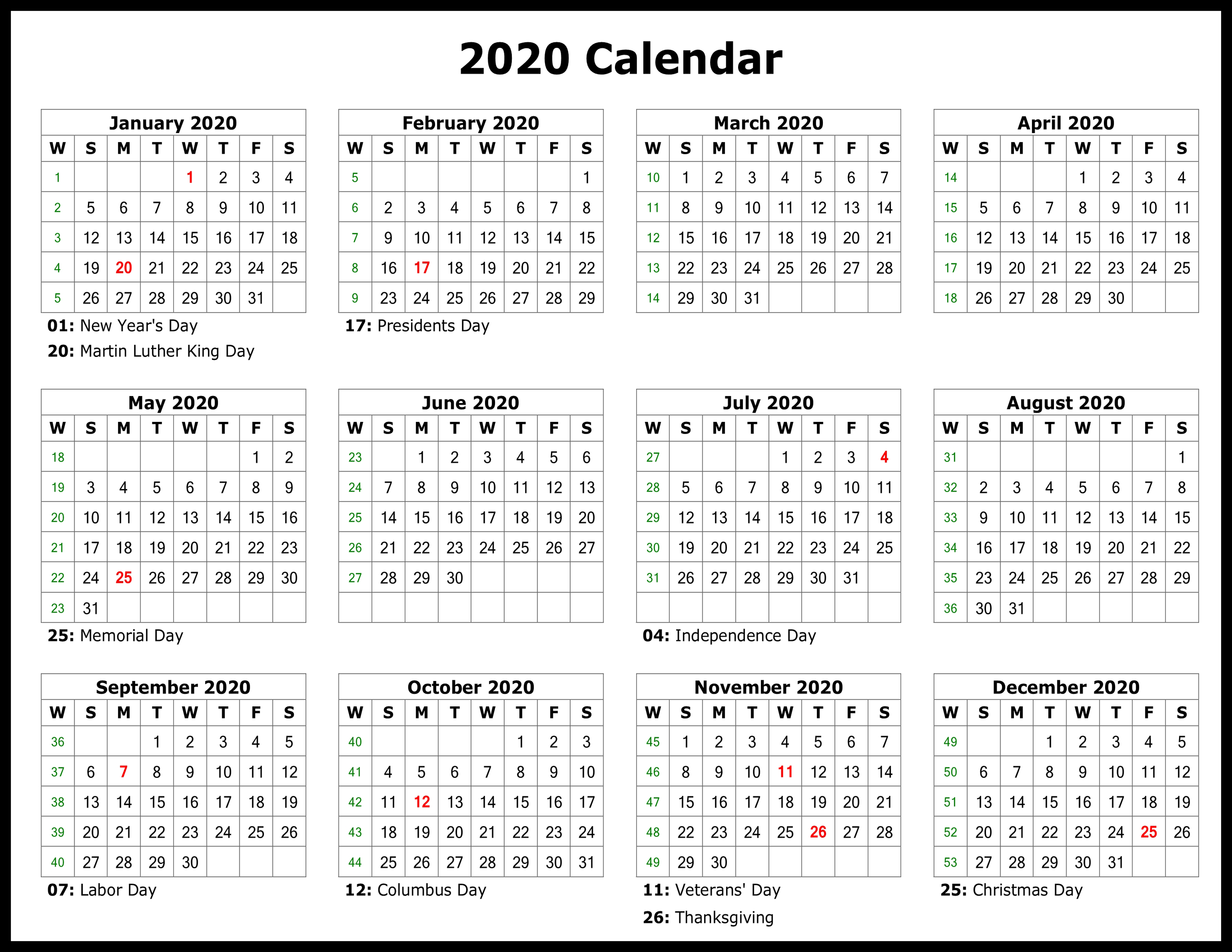 Presidents Day 2020 Calendar.Free Yearly 2020 Printable Calendar Templates Pdf Word Excel