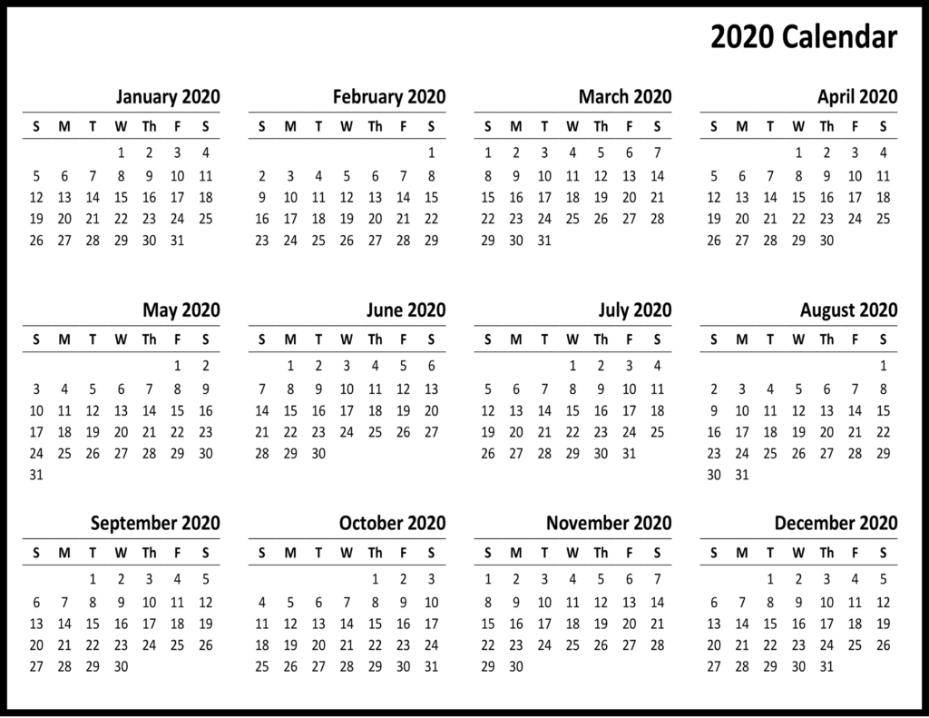 Yearly 2020 Printable Calendar