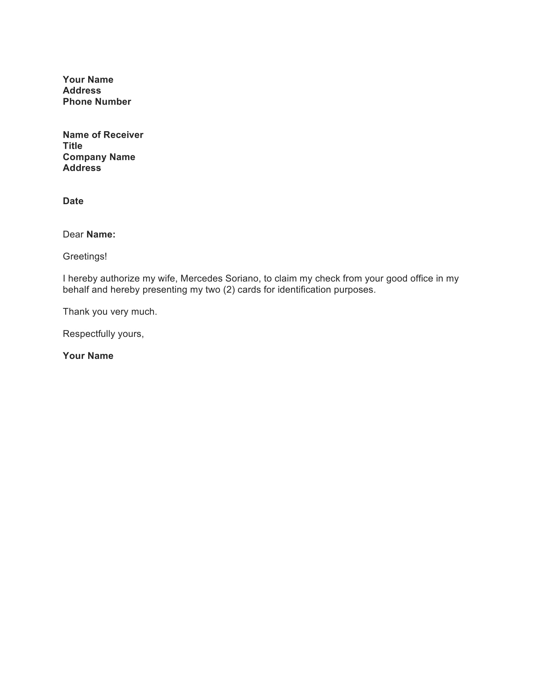 Sample Authorization Letter With Example