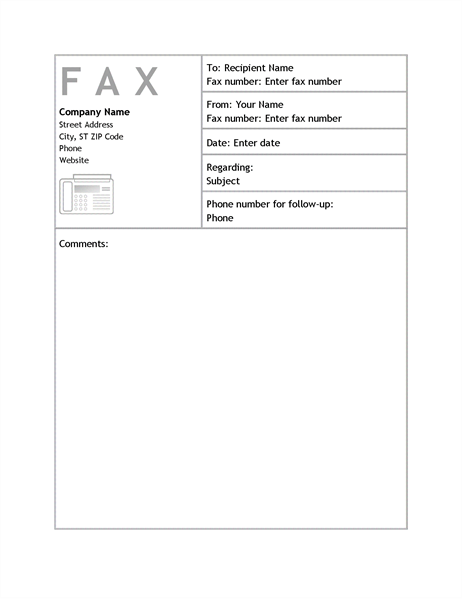Business Fax Cover Sheet