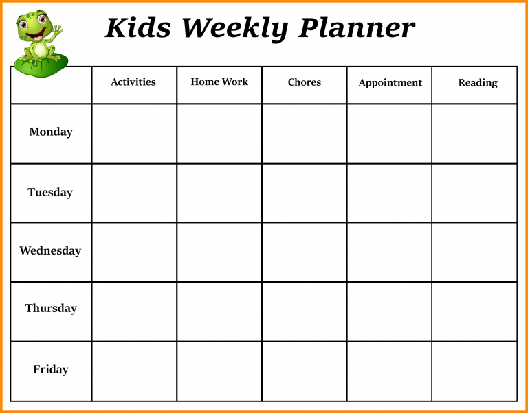 Weekly Calendar For Toddlers