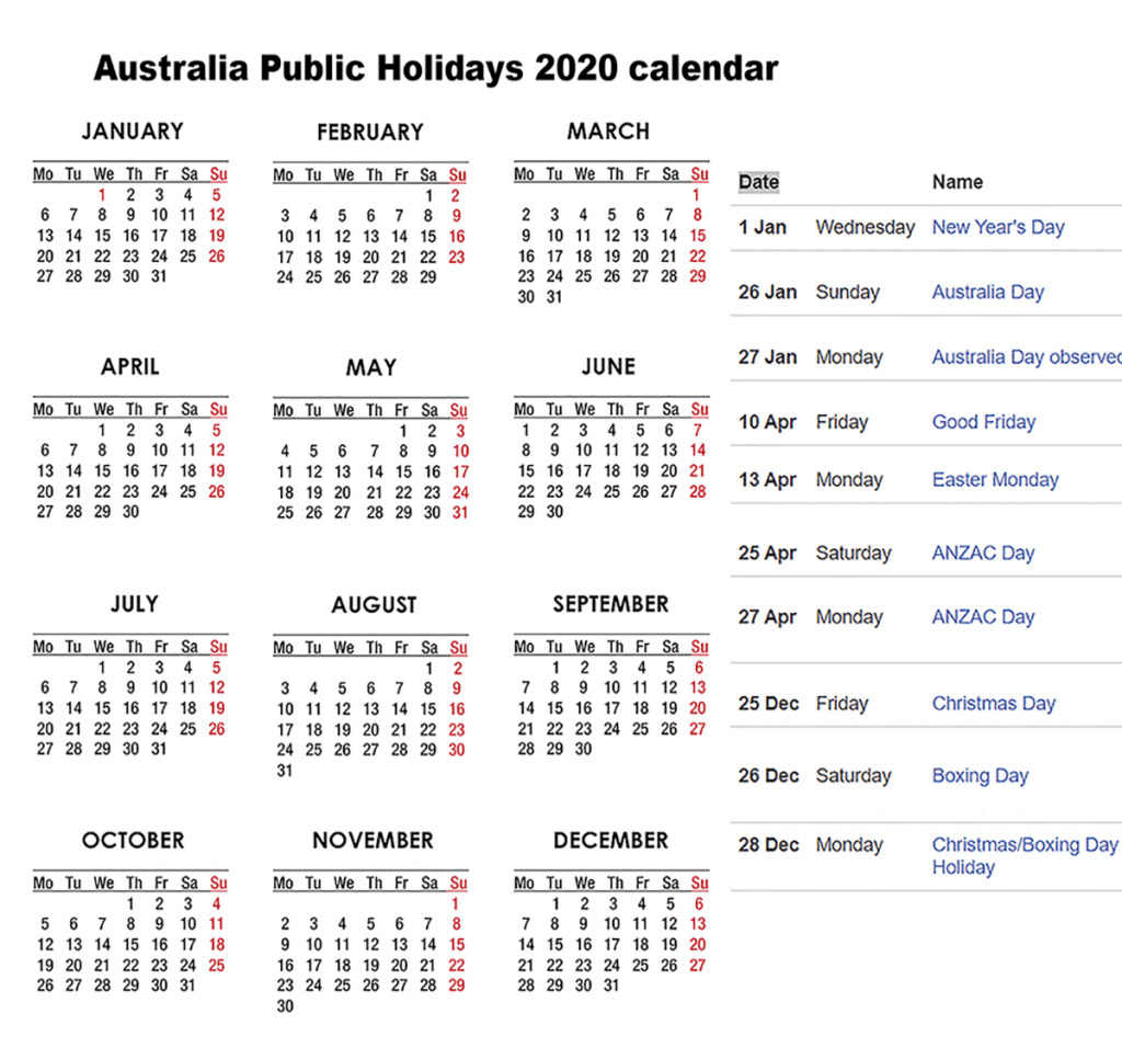 Printable Holidays 2020 in Australia