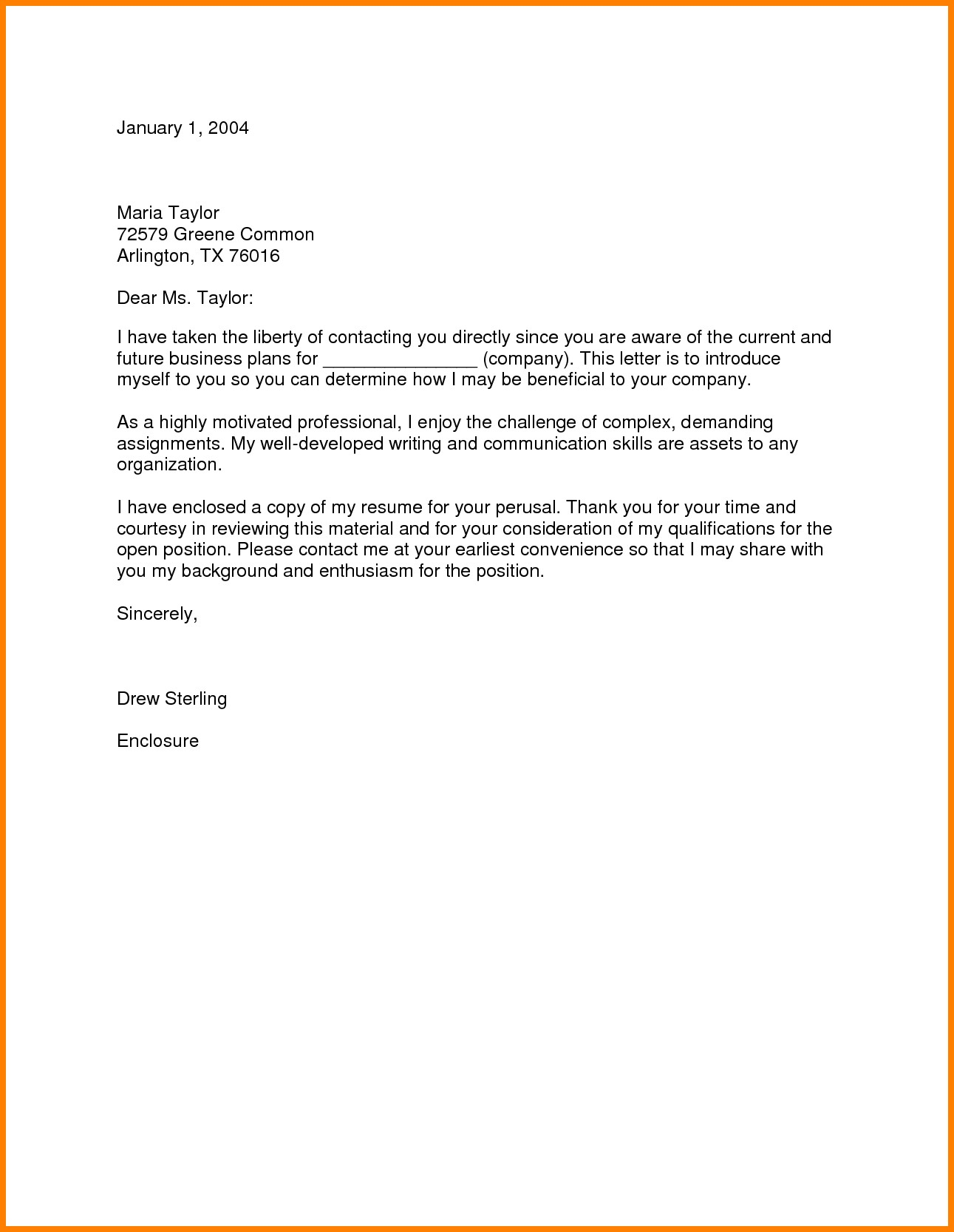 Business Letter For Job Inquiry