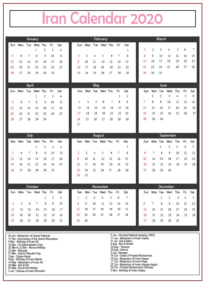 Jalali Calendar 2020 With Holidays