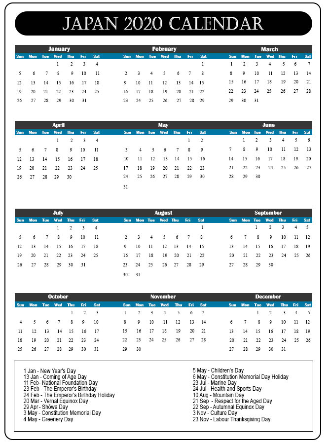 Printable Calendar 2020 with Japanese Holidays