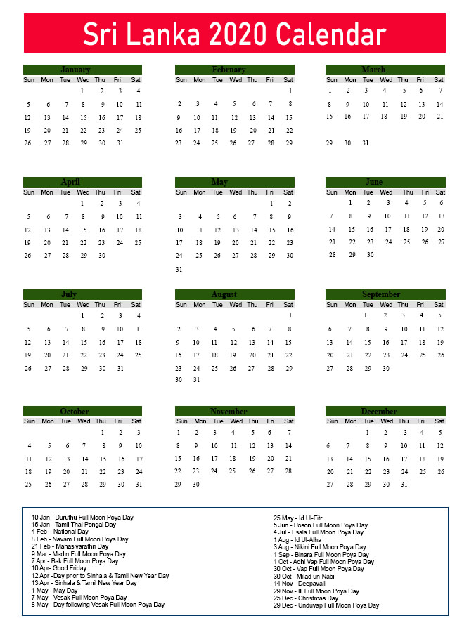 Printable Calendar 2020 with Sri Lanka Holidays